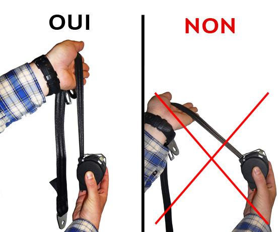 ceinture en position verticale (bonne position)